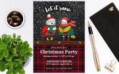 Christmas party invitations, Christmas invitations instant download, Christmas invites, Christmas invitations template, download by PrintablesForEvents on Etsy