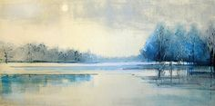 Lisa Breslow, Lake Reflections 8 2013, Monotype, paper size 22 x 36 inches