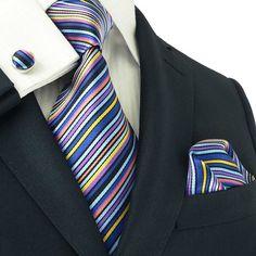 Landisun 85H Multi-Color Stripes Mens Silk Tie Set: Tie+Hanky+Cufflinks