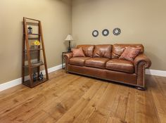 Prefinished Engineered Maple Character - Hand Scraped Face and Edge - Antique Mahogany Stain Wood, Wide Plank Flooring, Sofa, Flooring, Furniture, Mahogany Stain, Home Decor, White