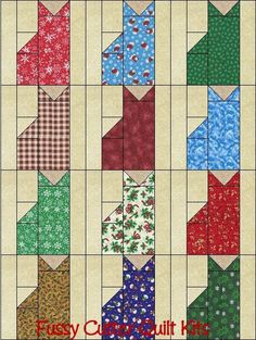 Christmas Holiday Kitty Cats Grab Bag Fabric Fast Easy Beginner Patchwork Pre-Cut Quilt Blocks Top Kit Quilting Squares Pieces Sale