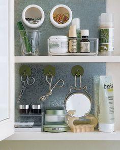 Magnetic board in bathroom cupboard