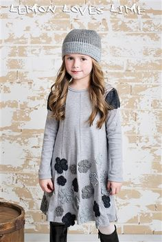 Lemon Loves Lime Princess Bouquet Dress Gray Fall 2014 Preorders for girls clothing that is cute and fashionable