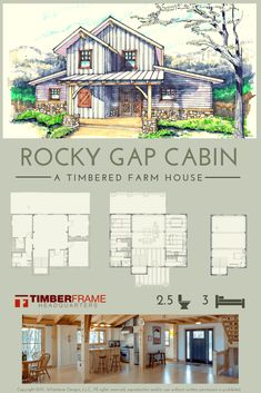 Rocky Gap Cabin This stunning multilevel house is perfect for a young family. With three levels and Cabin House Plans, Cabin Floor Plans, Small House Plans, Small Barn Home, Cabin Plans With Loft, Timber Frame Home Plans, Unique House Plans, Spanish Style Homes, Pole Barn Homes