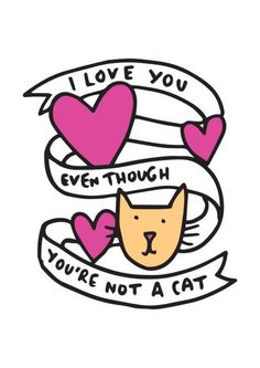 I love you even though you're not a cat - Card by Veronica Dearly