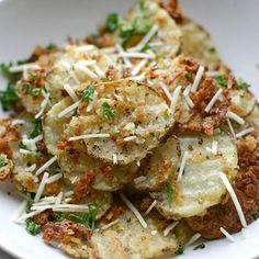 Crispy oven-baked parmesan garlic fries.
