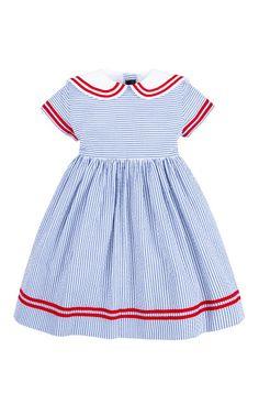 Shop Girls+Seersucker+Sailor+Dress+by+Oscar+de+la+Renta+-+Moda+Operandi