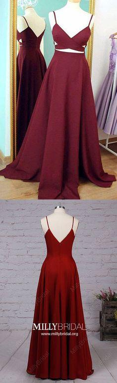 Burgundy Prom Dresses,Long Prom Dresses,A-line Prom Dresses For Teens,Sexy Prom Dresses V-neck,Silk-like Satin Prom Dresses Ruffles #dressesforteens