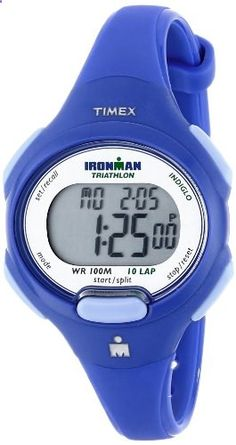 Timex Women's T5K784 Ironman Blue Resin Sport Watch. Go to the website to read more description.