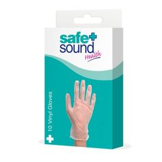 Safe & Sound Health Vinyl Gloves. High quality, suitable for protecting hands for a variety of uses. 10 pairs per pack.