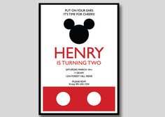 Mickey Mouse Birthday Invitation  Custom DIY by TrendyHenry, $12.00