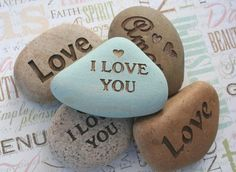 I Love You and more... - Say It on the Rock - home decor, paperweight - custom stone engraving with your words on Etsy, $18.00