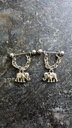 Elephant Set of 2 14g 1.6mm or 16g 1.2mm by FeatherBlueJewelry