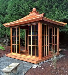 Kikue's Tea House (Options: L x W, Redwood with Door Handle, Interior Decking with External Decking (up to Transparent Premium Sealant). Small Japanese Garden, Japanese Tea House, Japanese Garden Design, Japanese Pergola, Japanese Garden Backyard, Japanese Gardens, Backyard Gazebo, Backyard Landscaping, Patio