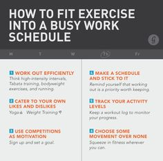 How to Fit Exercise into a Busy Work Schedule via Fitblok fitness exercise workout fitness tips fitness tip of the day mens fitness tips male fitness tips fitness motivation tips female fitness tips womens fitness tips Fitness Diet, Fitness Motivation, Health Fitness, Key Health, Fitness Goals, Toning Workouts, Fun Workouts, Exercises, Lose Fat