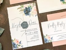 Blush and Navy Deckled Edge Wedding Invitation Set with Wax Seal & Watercolor Florals, Elegant Modern Romantic Invite, Spring Summer Fall Invitation Envelopes, Floral Invitation, Floral Wedding, Boho Wedding, Wedding Decor, Wedding Ideas, Formal Wedding Invitations, Timeless Wedding