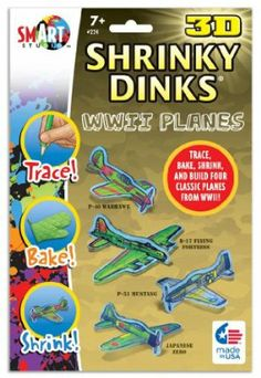 """3-D Shrinky Dinks WW II Airplanes by BSW Toy. $9.14. Everybody loves Shrinky Dinks!. Each envelope contains 10 (5' x 8"""") sheets of the amazing plastic, baking instructions and a 2 sided tracing sheet."""