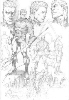Drawing Superhero Aquaman Character Study by comiconart - Drawing Superheroes, Drawing Cartoon Characters, Comic Drawing, Comic Book Characters, Character Drawing, Cartoon Drawings, Drawing Sketches, Character Design, Comic Character