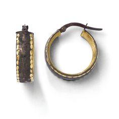 Leslies 14k w/ Chocolate Rhodium Hoop Earrings 24F