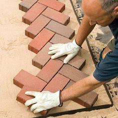 Brick Patio Steps Herringbone Pattern Ideas For 2019 Small Brick Patio, Brick Paver Patio, Brick Pathway, Walkway, Patio Steps, Diy Patio, Brick Design, Patio Design, Garden Design