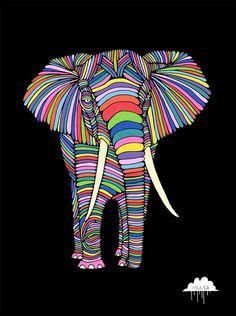 © Mulga 2012, Eden the Enigmatic Elephant, Posca on Paper, 30 x 40 cm Shop / Website / Facebook / Tumblr / Instagram