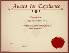 Business Certificate - Excellence Award Certificate |  CertificateStreet.com