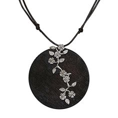NOVICA 925 Sterling Silver Accented Wood and Leather Pendant Necklace Pine Blossoms 15  30 -- Click image to review more details.