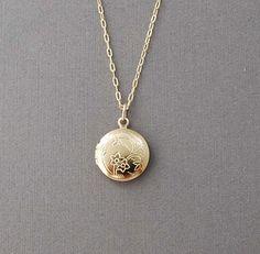 Small Gold Round Locket Necklace by JENNYandJUDE on Etsy, $25.00