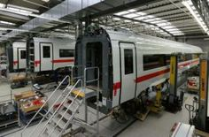 ICE 4 coaches under assembly at the Siemens Krefeld plant.