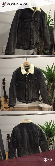 🌑🌿⚪️LEVIS Shearling Denim Jacket 🌑🌿⚪️ (UNISEX) This jacket encapsulates what it means to be bad a$$ love this thing! The warm cozy inline shearling, the beautifully faded black tone to the jacket. Can't say enough, there is a reason that you consistently find the best dressed male and female celebrities rocking Levi's shearling jackets. Exceptional quality, great price. Versatile piece that can be worn with anything really. Elevate the most basic of outfits, and makes them special. Be…