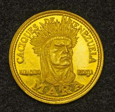 Venezuela 5 Bolivares Gold Coin of 1962 . Indian Chief Mara - 16th Century Brave Indian Chiefs Series of Venezuela