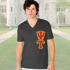 Psi Upsilon V-Neck T-Shirt - Vertical - American Apparel 2456 - TWILL