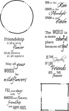 Freehand Border Phrase set 900 - Rubber Stamps Square x and circle 1 sentiments fit inside Scrapbook Quotes, Scrapbook Titles, Friend Scrapbook, Scrapbooking, Thank You Messages Gratitude, Greeting Card Sentiments, Greeting Cards, Calligraphy Quotes Doodles, Birthday Card Sayings