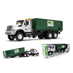 This scale Waste Management Roll-Off Container Truck includes working lights and horn sounds. It also has a working diesel engine, headlights, and lightbar, as well as a working cable reel with hood. Removable roll-off container that slides and tilts Container Truck, Cable Reel, Diesel Engine, Bar Lighting, Rolls, Trucks, Car, 3rd Birthday, Gifts