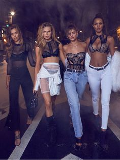 Taylor Hill, Josephine Skriver, Lais Ribeiro and Romee Strijd for Victoria's Secret.