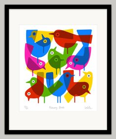 Primary Birds by Lo Cole  Limited Edition Pigment Ink by locole, £45.00