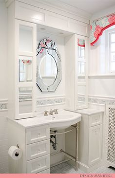 bathroom designed by Naomi from Design Manifest. Love the storage around the pedestal sink, and the cornice window treatment