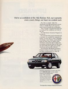 Alfa Romeo 164 Alfa Romeo Logo, Alfa Romeo Cars, Vintage Advertisements, Vintage Ads, Expensive Sports Cars, Alfa Alfa, Car Brochure, Car Advertising, Art Cars
