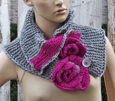 Scarf Knitt Capelet flower freeform roses Woman's Shawl Cape   Grey Fuchsia Cape Flower Neck Warmer Knitting button knitt lace scarf
