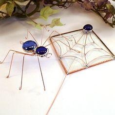 hand made wire sun catcher | Handmade Blue Spider and Bevel Sun Catcher Duo by SpiderwoodHollow