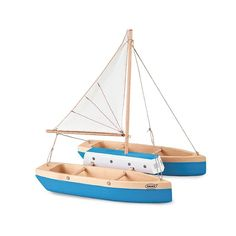 blue spruce wood catamaran