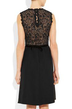 Valentino|Silk-crepe and lace dress|NET-A-PORTER.COM
