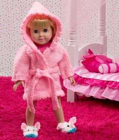 Doll Robe and Bunny Slippers Free Knitting Pattern LW4367