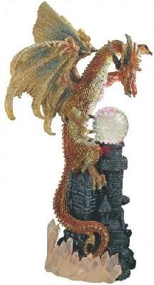 Dragon w/ Lighting *LED Crystal Ball Collectible Figurine Fantasy Dragon, Dragon Art, Dragon Figurines, Bird Wings, Collectible Figurines, Crystal Ball, Vintage Antiques, Rooster, Led