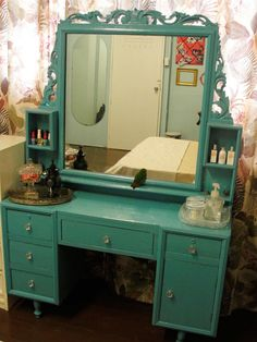 This color vanity would look great in blush and cream colored bedroom.
