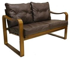 Stockholm Bentwood Faux Leather Slatted Back Settee/ Bench with Seat and Back Cushions - Overstock Shopping - Great Deals on International Caravan Benches Living Room Bench, Condo Living, Cool Furniture, Modern Furniture, Bench With Back, Leather Bench, Leather Cushions, Southwest Decor, Bench Cushions