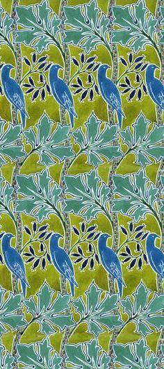 Bird pattern in greens and blues.  http://www.vam.ac.uk
