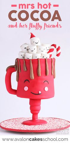 Adorable Hot Cocoa mug cake perfect for Christmas parties or use these techniques to make your favorite coffee lover a cake! Possibilities are endless. Full video tutorial only on avaloncakesschool.com Guest instructor Amber Adamson #mugcake #caketutorial #cakeart #cakedecorating