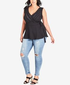 ed789f55652e90 Trendy Plus Size Cold-Shoulder Twist Top