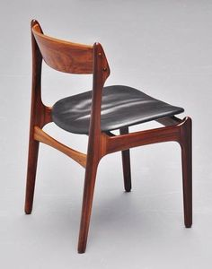 Erik Buck; Rosewood and Leather Side Chair for O.D. Møbler, 1957.